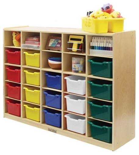 Ecr4kids 25 Tray Cabinet With Assorted Colored Bins Contemporary Toy Organizers By Hayneedle