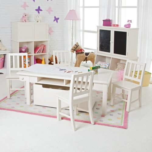 Classic Playtime Vanilla Deluxe Activity Table with Free Paper Roll contemporary-kids-tables-and-chairs