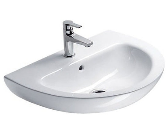 "GSI - Simple Round White Ceramic Wall Mounted Sink by GSI - This simple white ceramic bathroom sink is designed and made in Italy by GSI. It is a contemporary wall mounted sink with overflow and comes with either a single faucet hole (as shown), no holes, or 3 holes. Sink dimensions: 22.80"" (width), 7.10"" (height), 17.70"" (depth)"