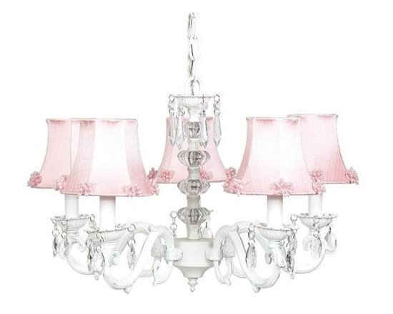 Belle & June - The Gwyneth Chandelier - This strikingly elegant 5-arm ivory chandelier features pink dupioni silk shades with small pearl detail, a dramatic crystal ball center, and hanging crystals throughout. Hang this whimsical and feminine chandelier in  your little girls bedroom or nursery.