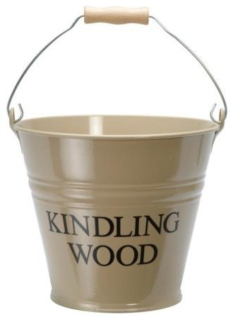 Clay Enamel Kindling Wood Metal Bucket eclectic fireplace accessories