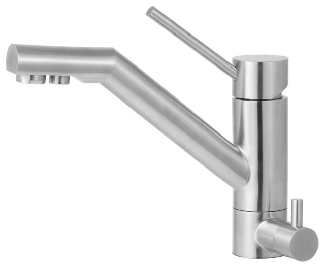 ALFI Solid Brushed Stainless Steel Kitchen Faucet With Built In Water Dispens