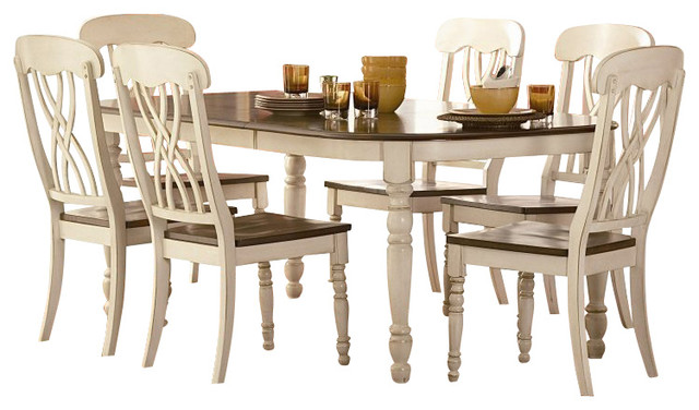 Homelegance Ohana 7 Piece Dining Table Set in White Warm Cherry Farmhouse