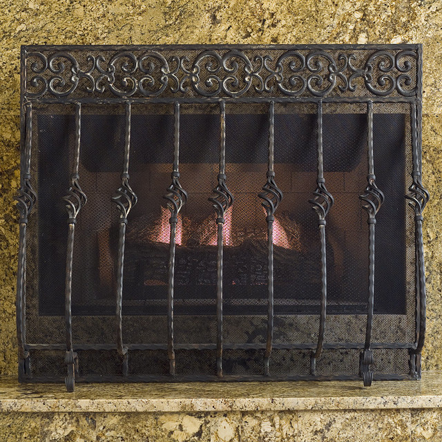 Orangey Cast Iron Fireplace Screen with Straight Top - Traditional ...