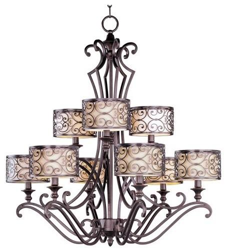 Maxim 21156WHUB Mondrian Multi Tier Chandelier - 34W in. Umber Bronze traditional-chandeliers