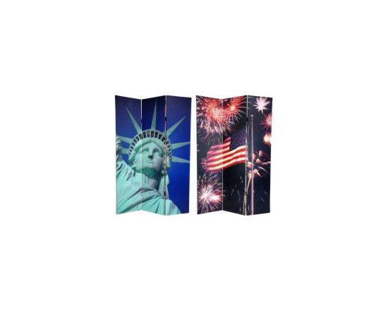 Functional Art/Photography Printed on a 6ft Folding Screen - Statue of Liberty and fireworks on a 6ft folding panel screen room divider