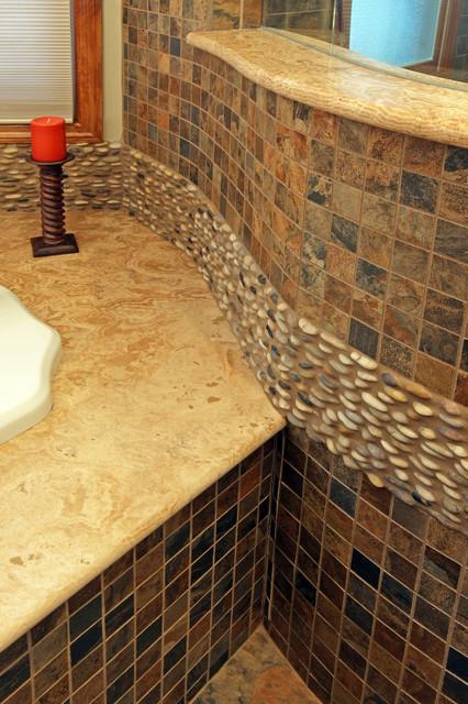 Circle Stone Amp Glass Shower Transitional Bathroom St