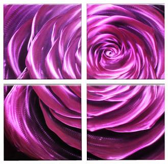 Metal Wall Art Modern Sculpture Decor Flower Purple Velvet contemporary-artwork