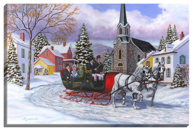 Victorian Sleigh Ride Illuminated Wall Art contemporary-artwork