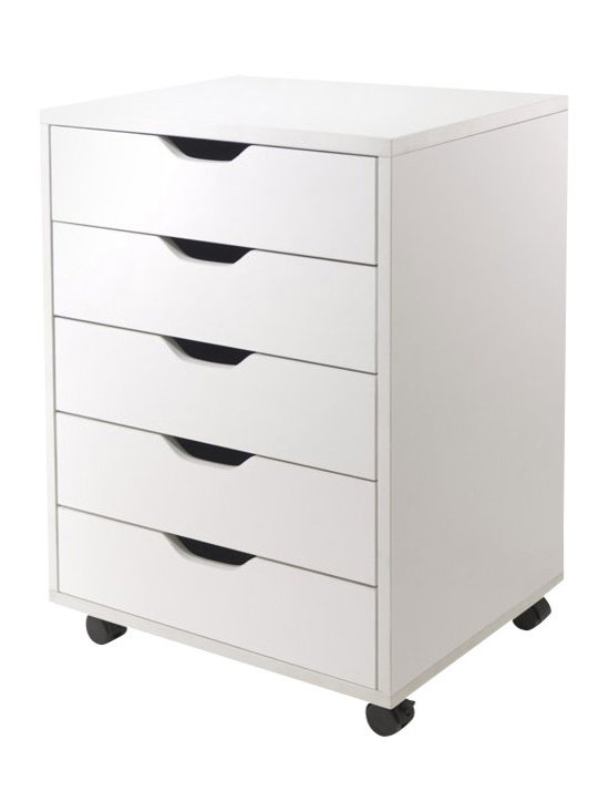 Winsome - Winsome Halifax Cabinet for Closet/Office with 5 Drawers in White Finish - Winsome - Filing Cabinets - 10519 - Halifax storage carts feature a multitude of drawers for easily accessible storage in your home office kitchen craft room or a child's room.  Optional locking casters to use them with or wihtout casters for stationary or mobility storage.  Create a workspace by placing tabletop over 2 of 7-Drawer carts for high table or 5-Drawer creates a normal table height.