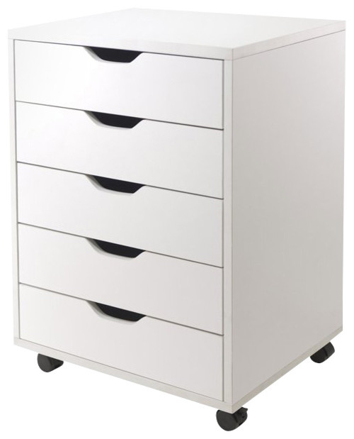 Winsome Halifax Cabinet for Closet/Office with 5 Drawers in White Finish - Transitional - Office ...