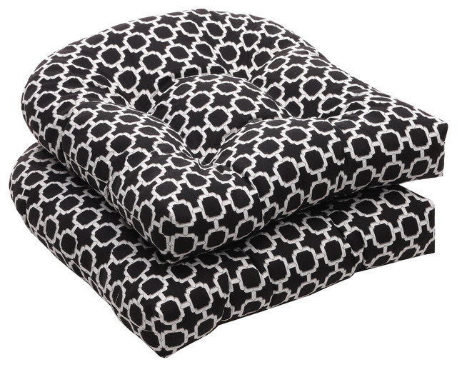 Pillow Perfect Outdoor Geometric Black/ White Wicker Seat Cushions (Set of 2) contemporary-outdoor-pillows