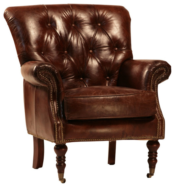 tufted leather club chair with nail heads and casters