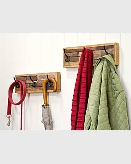 Reclaimed Wood Coat Hook Rack eclectic hall trees