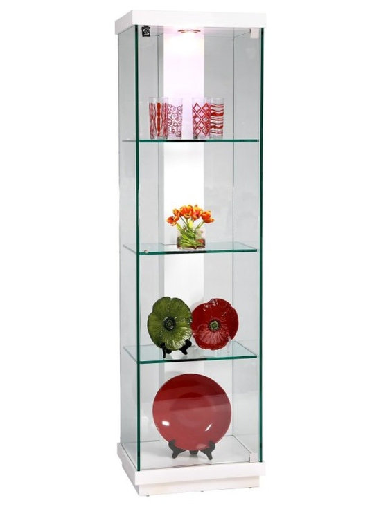 Chintaly - Chintaly Luna White Accent Glass Curio Cabinet - 6633-CUR - Shop for China from Hayneedle.com! This Chintaly Paris Glass Curio Cabinet adds a chic modern element to any living space. It boasts durable construction but is delicately designed with a white gloss finish. Impressively spacious it contains three interior glass shelves for sufficient storage. This curio cabinet also features an interior light for a luminous display and locks for secure storage. About Chintaly Imports Based in Farmingdale New York Chintaly Imports has been supplying the furniture industry with quality products since 1997. From its humble beginning with a small assortment of casual dining tables and chairs Chintaly Imports has grown to become a full-range supplier of curios computer desks accent pieces occasional table barstools pub sets upholstery groups and bedroom sets. This assortment of products includes many high-styled contemporary and traditionally-styled items. Chintaly Imports takes pride in the fact that many of its products offer the innovative look style and quality which are offered with other suppliers at much higher prices. Currently Chintaly Imports products appeal to a broad customer base which encompasses many single store operations along with numerous top 100 dealers. Chintaly Imports showrooms are located in High Point North Carolina and Las Vegas Nevada.