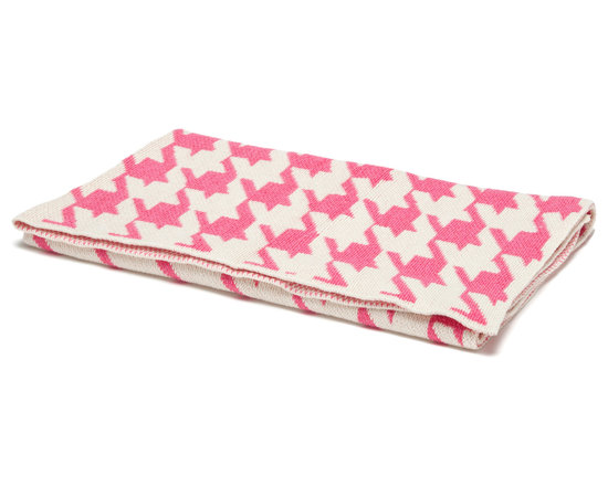 "in2green - Eco Baby Houndstooth Throw, Baby Pink/Milk - Our throws are all knit in the USA with a blend of recycled cotton yarn (74% recycled cotton yarn, 24% acrylic, 2% other), generously sized at 50"" x 60"" and machine wash and dry...how easy is that!"