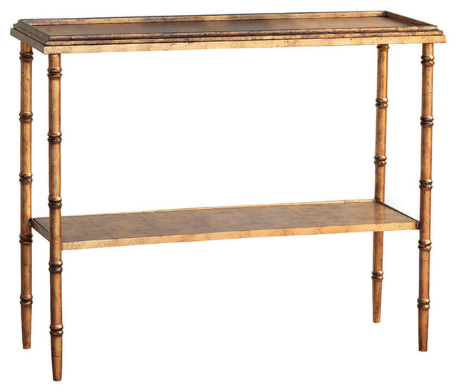 Bamboo Gold Table: Doheny Hollywood Regency Style Gold Faux Bamboo Console
