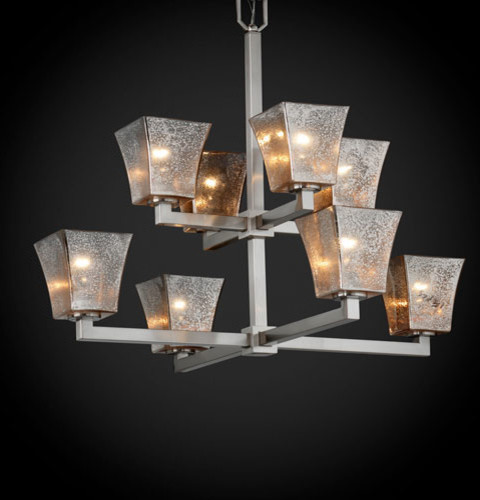 Fusion Modular Eight-Light Brushed Nickel Two-Tier Chandelier contemporary-chandeliers