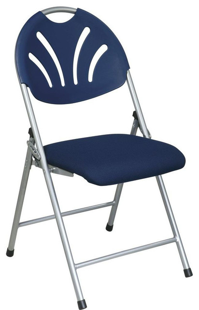 Folding Chair with Blue Plastic Fan Back and Fabric Seat with Silver Frame 4