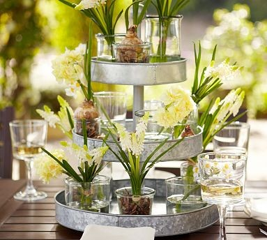 Galvanized Metal 3-Tier Stand contemporary serveware