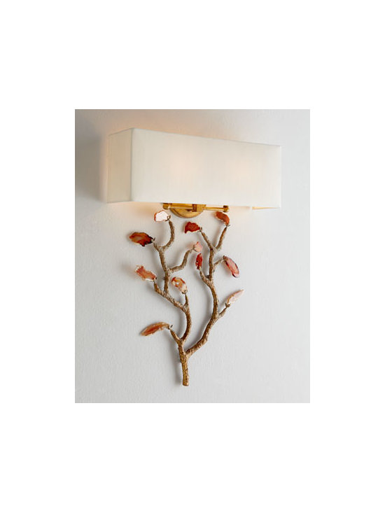 John-Richard Collection - John-Richard Collection Agate Wall Sconce - Let your imagination run wild! This versatile two-piece, two-light sconce features a leaf structure/sculpture base and a separate shade, so you can configure it any way you wish. The overall height of the sconce depends on where the base is placed in re...