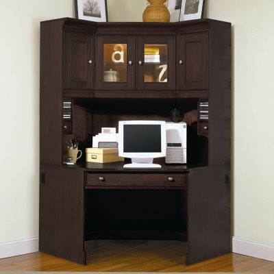 Riverside Urban Crossings Corner Desk with Hutch - Espresso - Modern
