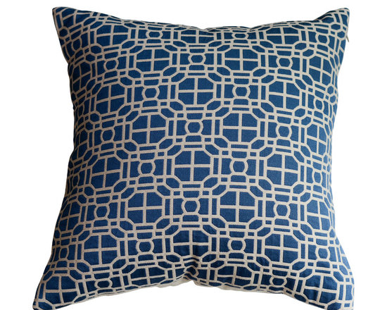 KH Window Fashions, Inc. - Blue Modern Geometric Decorative Pillow, Without Insert - This modern embroidered circle pillow will complement any decor.