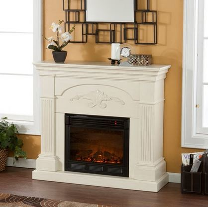 Salerno Electric Fireplace Cabinet Mantel Package in Ivory - 37-213-023-6-18 traditional-fireplaces