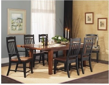 GS Furniture Riverside 7 Piece Rectangular Dining Set with Slat Back Chairs modern-dining-tables
