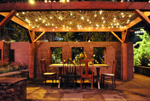 Beautiful Night Shot Of Pergola And Patio Mediterranean