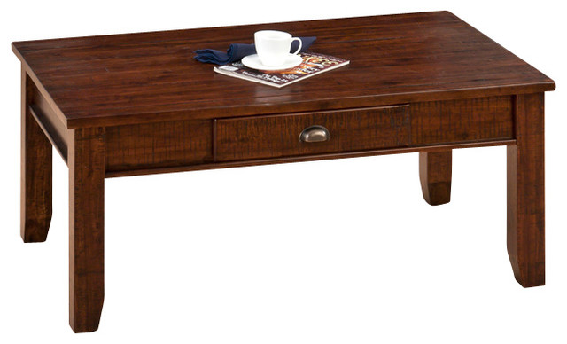 Jofran Urban Lodge 4 Piece Coffee Table Set With Drawer In Antique Brown Traditional Coffee