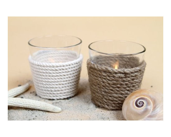Glass Tea Light Candle Holder with Rope (In White or Brown), Modern Home Decor -