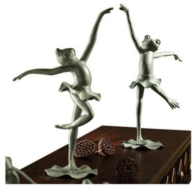San Pacific International 23.5H in. Pair of Ballet Frogs Statue modern-garden-statues-and-yard-art
