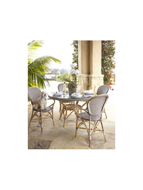 Horchow - Danielle Outdoor Table Glass - Evoking the Paris cafe culture of the 1930s, this lightweight yet strong dining furniture brings a distinctive Provencal flavor to outdoor entertaining. Optional glass top adds versatility. Made of the finest rattan and weather-resistant Polystrand&#17...