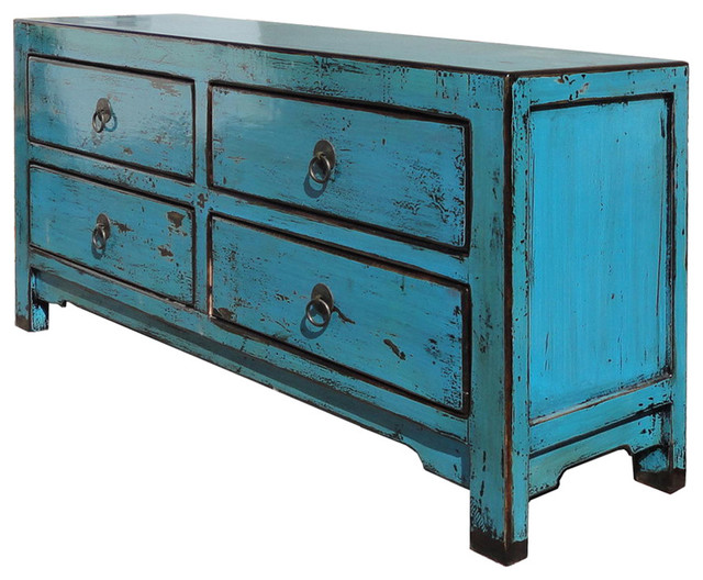 Rustic Style Turquoise Lacquer Four Drawers Low Side Table