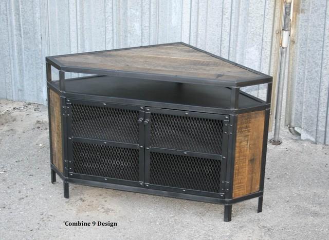 vintage industrial tv stand corner unit urban modern. Black Bedroom Furniture Sets. Home Design Ideas