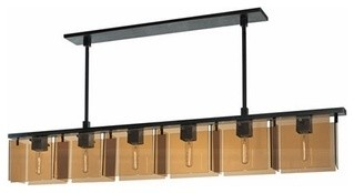 Sonneman  Bronze Age 6 Light Linear Pendant modern pendant lighting