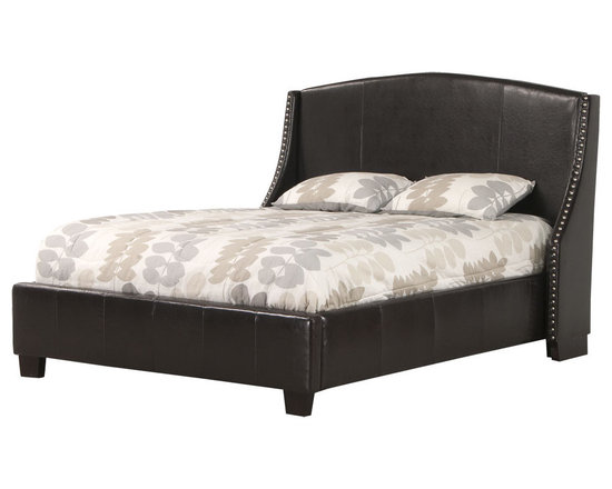 Stylution Direct - Naples - The Naples bonded leather bed has hand placed nail-head trim on the wings.  Available with optional storage drawers.  Photo: Jerome's Furniture