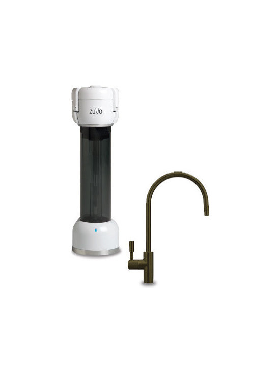 Zuvo - 300 Series Under Counter Water Filtration System with Moorea Faucet - Features: -Under-counter 110V water filtration system with charcoal reservoir and filter indicator light. -5-step patented ultraviolet light, ozone and filtration treatment system. -Includes beverage faucet and kit, activated carbon filter (installed), owner's manual, and installation instructions. -Reduces chlorine taste & odor, lead, cysts (Cryptosporidium and Giardia), tiny particulates and non-pathogenic microorganisms. -Class I (highest) particle reduction carbon block filter. -Volume based indicator light lets you know when to replace your filter. -UV Lamp Life 10, 000 cycles or 3 years depending on use conditions. -Wastes no water (similar to reverse osmosis systems). -Retains natural and healthy minerals. -Self-cleaning, zero maintenance. -BPA Free. -Manufacturer provides 1 year warranty.