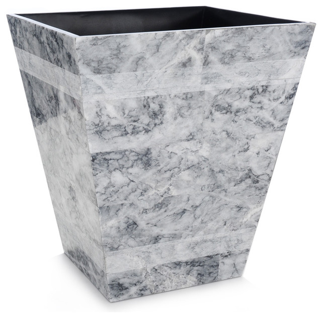 Gray etched stone wastebasket modern waste baskets by bliss home and design - Modern wastebasket ...