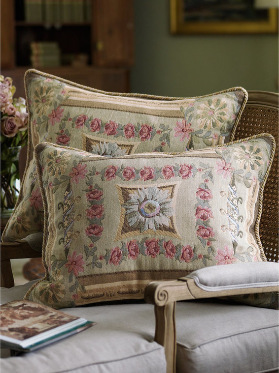 Mas La Barque Tapestry Pillow Sham - When Marie Antoinette wanted to escape the formalities of court life at Versailles, she retreated to the Petit Trianon, her more rustic country getaway. This stunning tapestry collection takes its inspiration from that charming chateau, fusing antique roses, Florentine scrolls and traditional architectural elements into a gorgeous array of color, pattern and texture. The coordinating sham is edged with braided cording and has a hidden zip closure.