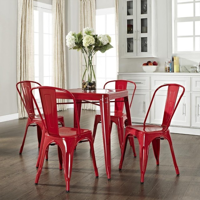 Crosley amelia five piece metal cafe dining set for Kitchen set industrial