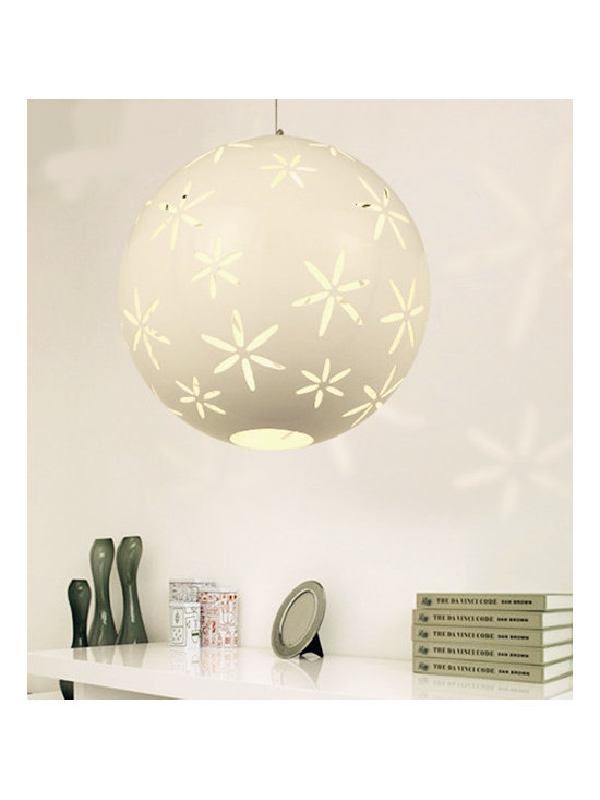 Globular Hollow Out Pendant Living Room Lamps White - SOLD OUT~