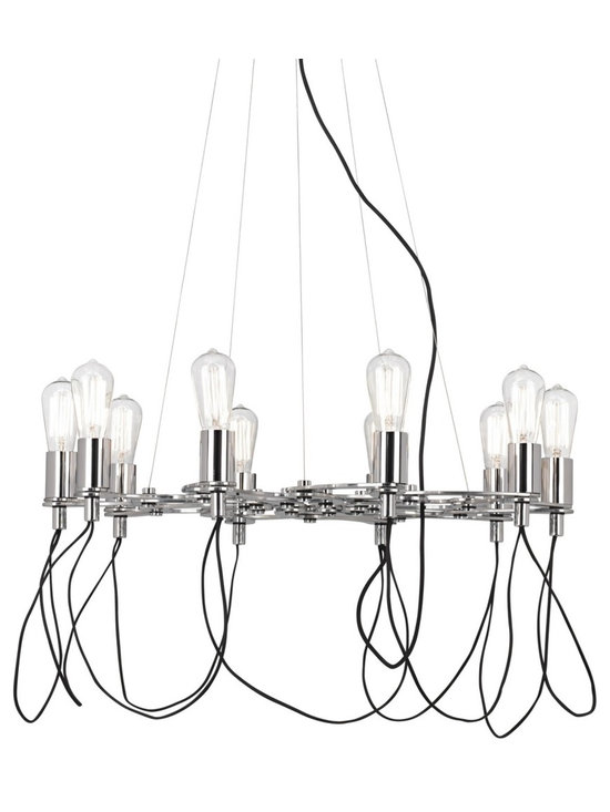 "Possini Euro Design - Possini Euro Chrome Edison Style Cluster Bulb Chandelier - Featuring a brilliant chrome finish plate frame this chandelier creates modern minimalist charm with the black cords draping underneath. In another modern twist the frame expands and collapses allowing you to customize the look and pick the perfect size. This distinctive design includes Nostalgic Edison style bulbs that will enhance a vintage inspired decor. From Possini Euro Design. Metal construction. Chrome finish. Black cord. Includes ten 60 watt Nostalgic Edison style bulbs. 39 1/2"" wide. 15"" high. Canopy is 5 1/2"" diameter and 1"" high. Hang weight is 11 lbs.  Features a cluster bulb chandelier design.  Single tier of bulbs.  Metal construction.  Chrome finish.  Black cord.  With 9 feet of additional hang cord.  Designer style large chandelier.  Includes ten 60 watt Edison style Nostalgic bulbs.  39 1/2"" wide.  5 1/2"" wide 1"" high canopy.  11 lbs hanging weight."