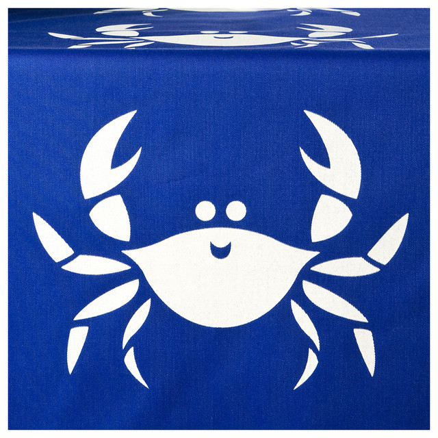 Happy Crab Eco Table Runner, Shell White/Sapphire Blue - beach