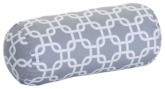 Outdoor Gray Links Round Bolster - Modern - Outdoor Cushions And Pillows - by Majestic Home Goods