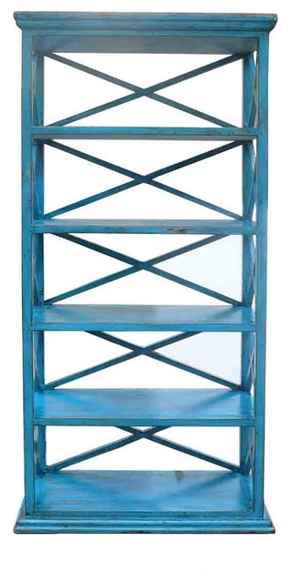 Rustic Wood Display Cabinet and Book Shelf, Blue - Farmhouse - Bookcases - by Golden Lotus Antiques