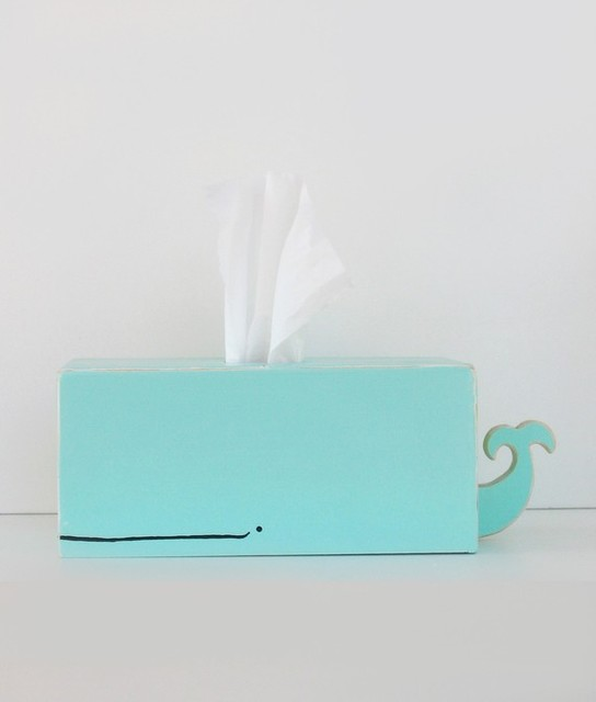 Whale Tissue Holder, Surf Blue by Sparkly Pony eclectic-tissue-box-holders