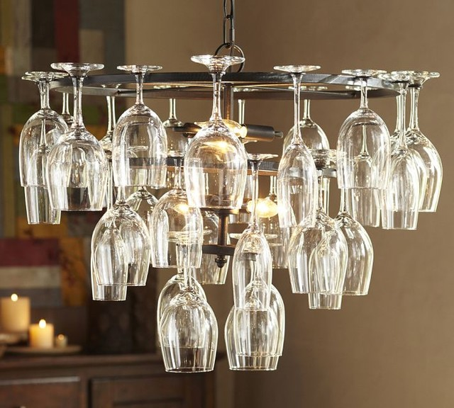 Wine Glass Rack Chandelier - Industrial - Chandeliers - by ...