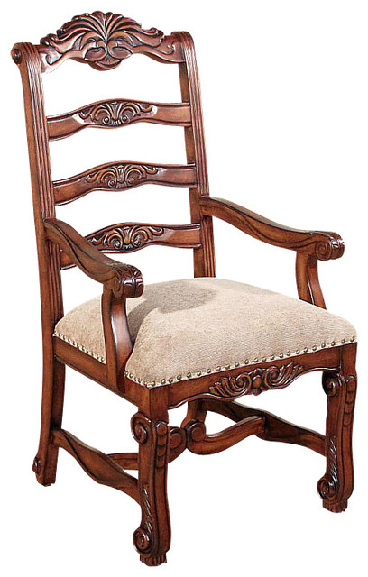 Solid Mahogany Ladder Back Tan Occasional Arm Chair  : traditional dining chairs from www.houzz.com size 408 x 640 jpeg 80kB